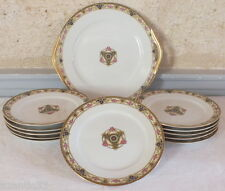 service dessert gateau 12 pièces porcelaine plat + assiettes
