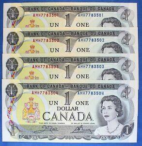 Canada 1973 - $ 1 - BC-46b - Crow-Bouey - Uncirculated - Lot of 4 Notes