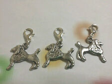 New 3 Silver Tone Cute Dog Clip On Charms For Bracelets/Necklaces