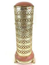 Vintage Faux Marble Hollywood Regency Ormulu Gold Filigree Comb Brush Holder