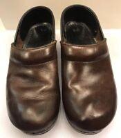 Dansko Women Sz 38 EU 7.5 - 8 US Clogs Shoes Brown Leather Slip On
