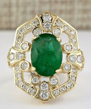 6.00 Carat Natural Emerald 14K Yellow Gold Diamond Ring
