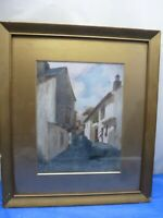 Framed Original Oil on Board Painting of a Street Signed by Kearton
