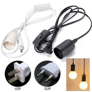 E27 Plug-In Hanging Pendant Light Fixture Lamp Bulb Socket Cord with Switch Part