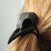 Black Crow Skull Hair Tie - Pony Tail Holder -Bird Raven Gothic Poe 2046