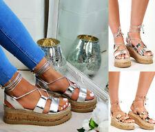 Señoras Mujeres Plana De Cuña Alpargatas Con Cordones Plataforma Verano Sandalias Zapatos Talla