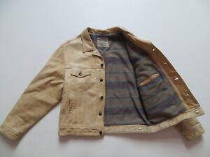 Levi's Herren Jacke Lederjacke Gr. L, Vintage Echt-Leder Jeansjacke, Gefüttert !