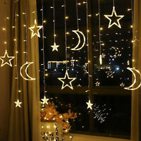 Plug In LED Moon Star Curtain Lights Fairy String Wall Lights Wedding Party Xmas