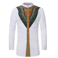African tribal casual shirts men dashiki print succinct hippie blouse clothing
