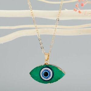 Lucky Turkish Evil Eye Pendant Resin Necklace Clavicle Chain Women Men Jewelry
