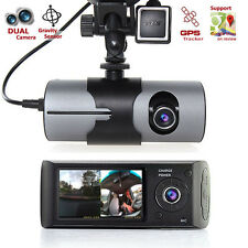 HD Car DVR Dual Camera Lens Dash Cam GPS Logger G-Sensor Time Stamp Google Map