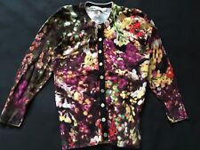 KAREN MILLEN Floral Purple yellow red silver buttons cardigan Size 1(8)