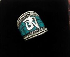 Nepal/Tibetan Tibet Silver Word Mantra Thumb Ring Artificial Mosaic Turquoise