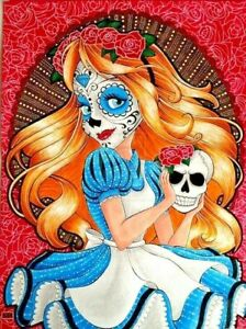 "SUGAR SKULL ALICE Edible Cake Topper 7.5"" x10"" RECTANGLE Day of the Dead"
