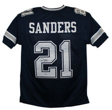 Deion Sanders Autographed/Signed Dallas Cowboys Blue XL Jersey BAS 25064