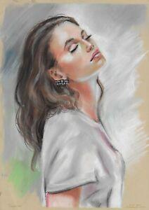original drawing A3 77HO art samovar Realism Pastel female portrait Signed 2021