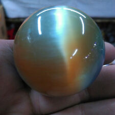95g Rare Natural Quartz color Cat Eye Crystal Healing Ball Sphere 38-40mm Stand