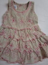 Baby Girl 3-6 month Beige corduroy pink floral embroidered dress PUMPKIN PATCH