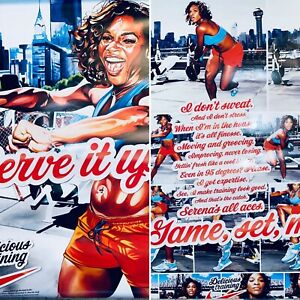 NIKE AD Serena Williams Poster Store Display Tennis Zoom Shoes Training 2 SIDED