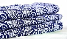 Indian Blue Decorative Floral Print Craft Cotton Fabric Material Sew By 10 Metre