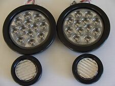 """2-4""""CLEAR Red Stop Turn & Tail lights with 2-2"""" 9 LED Backup Lights Jeep CJ TJ"""