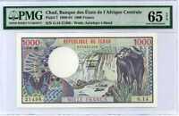 CHAD 1000 1,000 FRANCS ND 1980-84 P 7 GEM UNC PMG 65 EPQ