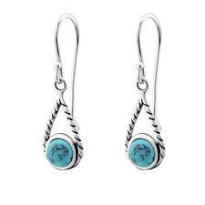 TJS 925 Sterling Silver Earrings Hook Antique Rope Teardrop Dangle Turquoise