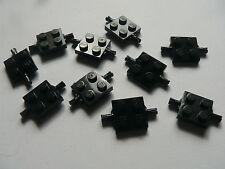 Lego 10 essieux plats noirs set 6393 6285 1966 10210  / 10 black plate modified