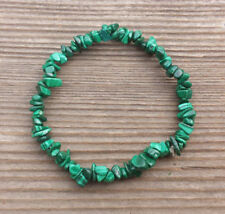 NATURAL MALACHITE STONE GEMSTONE STRETCHY CHIP BRACELET
