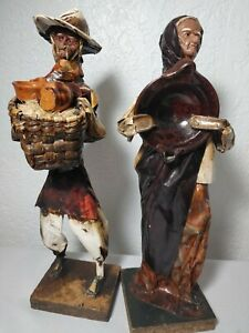Folk Paper Mache Mexican Figures Man Bowl Home Display Mexico Art People Culture