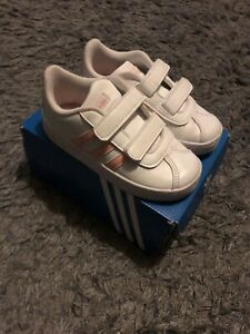 adidas vl court 2.0 Straps White With Pink Lines  Infant 7.5 Uk