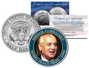 MIKHAIL GORBACHEV * 1990 NOBEL PEACE PRIZE * Colorized JFK Half Dollar U.S. Coin