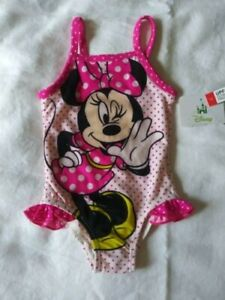 Disney Infant Baby Girls Minnie Mouse Swimsuit Pink White Polka Dots 3-6 M NWOT