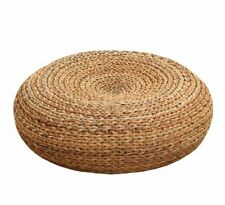 Round Rustic Floor Cushion Straw Pouf Seat Ottoman Home Decor Gift Meditation