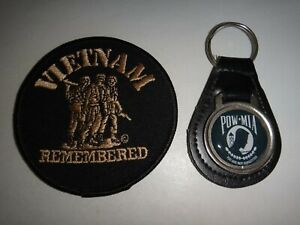 """Vietnam Remembered Patch + Pow-Mia """" You Are Not Forgotten """" Cuir Porte-Clés"""