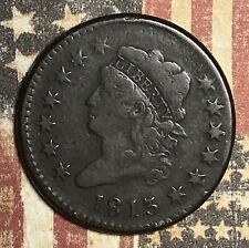 1813 Large Cent Old Us Copper Collector Coin Rare Date. Free Shipping