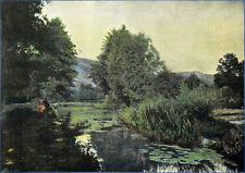 ANJOU : VUE des RIVES du LAYON (Photochromie 1896) - Planche couleur du 19e