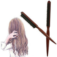 Natural Wood Hair Brush Comb With Wooden Boar Bristles Scalp Massage SE
