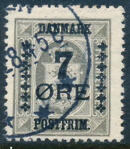 Denmark Scott 186/AFA 161, 7ø/3ø grey Provisional, F+ sound Used, VARIETY
