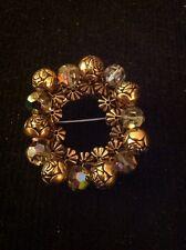 Vintage Estate Gold Tone Bead Rhinestone Holiday Christmas Wreath Pin Brooch