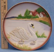 Homco Porcelain Decorative Plate Mother Swan & 2 Babies Barn Lake Raised Imagee