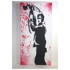 "Daryl Dixon The Walking Dead Inspired Painting - 12"" x 24"" Spray Graffiti Style"