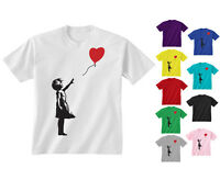 Youth Kids Childrens Girl With Heart Balloon Graffiti Art T-shirt Age 5-13 Years