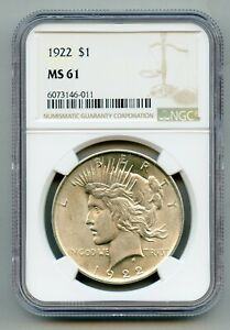 1922 Peace Silver Dollar NGC MS 61