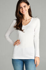 Womens T Shirt V Neck Long Sleeve Cotton Active Basic Light Weight CLOSE OUT