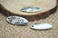 15pcs Silver tone oval flower Joy Charms Pendants, DIY Supplies 25x10mm
