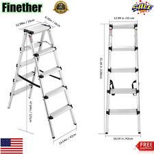 5 Step Ladder Folding Steel Anti-Slip Double Sided Heavy Duty 330Lbs Capacity US