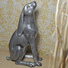 More details for large moonbeam hare silver effect statue harriet glen sculpture 40 cm