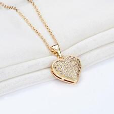 "Women Real Gold Plated CZ Rhinestone Heart Bid Necklace Chain Jewelry 15.5"""
