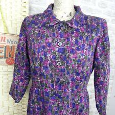 Vintage Japanese tea retro dress fully lined 60s/70s chic shirt waist M D862